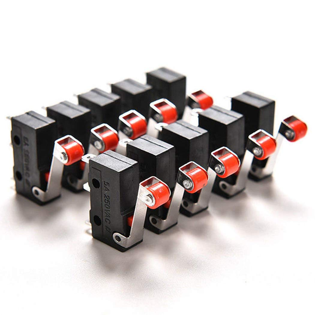 Fansport 10PCS Mini Micro Limit Switch Roller Lever Arm KW12-3 PCB Microswitch