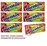 Mini Mentos Fruit Mix 3 Flavors Combo Lemon Orange Strawberry of 2.82 - 6 Packs