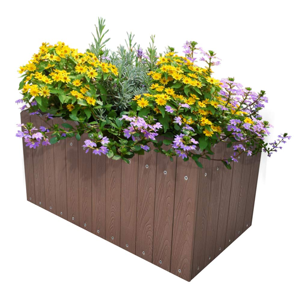 ART TO REAL Large Garden Raised Planters, Outdoor Raised Bed for Flowers Vegetable Herbs, 23.6''L x 8.5''W x 7.8''H (Coffee)