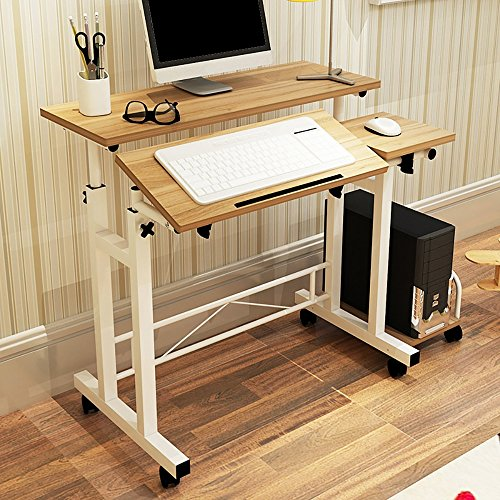 Saver Roll Top Desk - Household Adjustable Height Office Computer Desk with Casters Wheels, Lifting Tray Table,Angle Adjustable Tilting Mouse Board, Metal Stand, PC Notebook Study Furniture Home Workstation (brown)