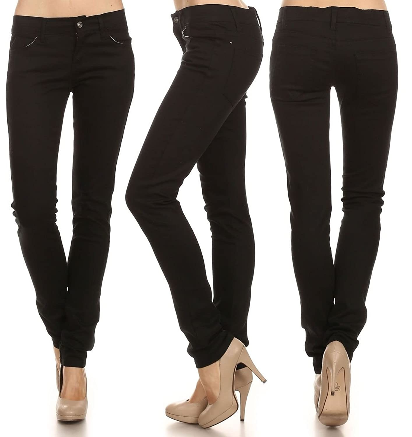 Women's Solid Mid Rise Skinny Color Jean Pockets Zip Fly Button Belt Loops Pants