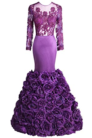 Topdress Womens Mermaid Prom Dresses Long Flower Evening Gowns Purple ...