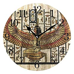 TFONE Ancient Egyptian Parchment Wall Clock Round Silent Non Ticking Battery Operated Clock for Home Kitchen Bedroom Bathroom Living Room Office Decorative