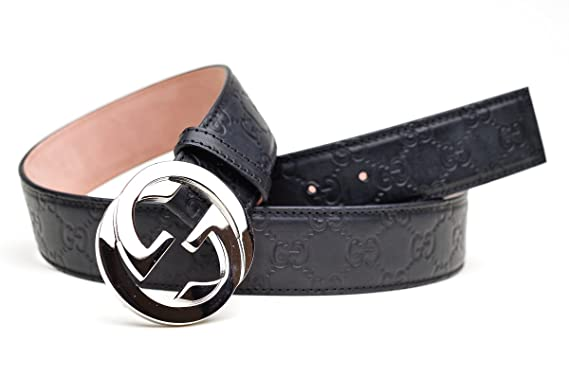 e30dc759035 GUCCI GG Designer Unisex Black Leather Belt Buckle - Black - 42 IN   Amazon.co.uk  Clothing