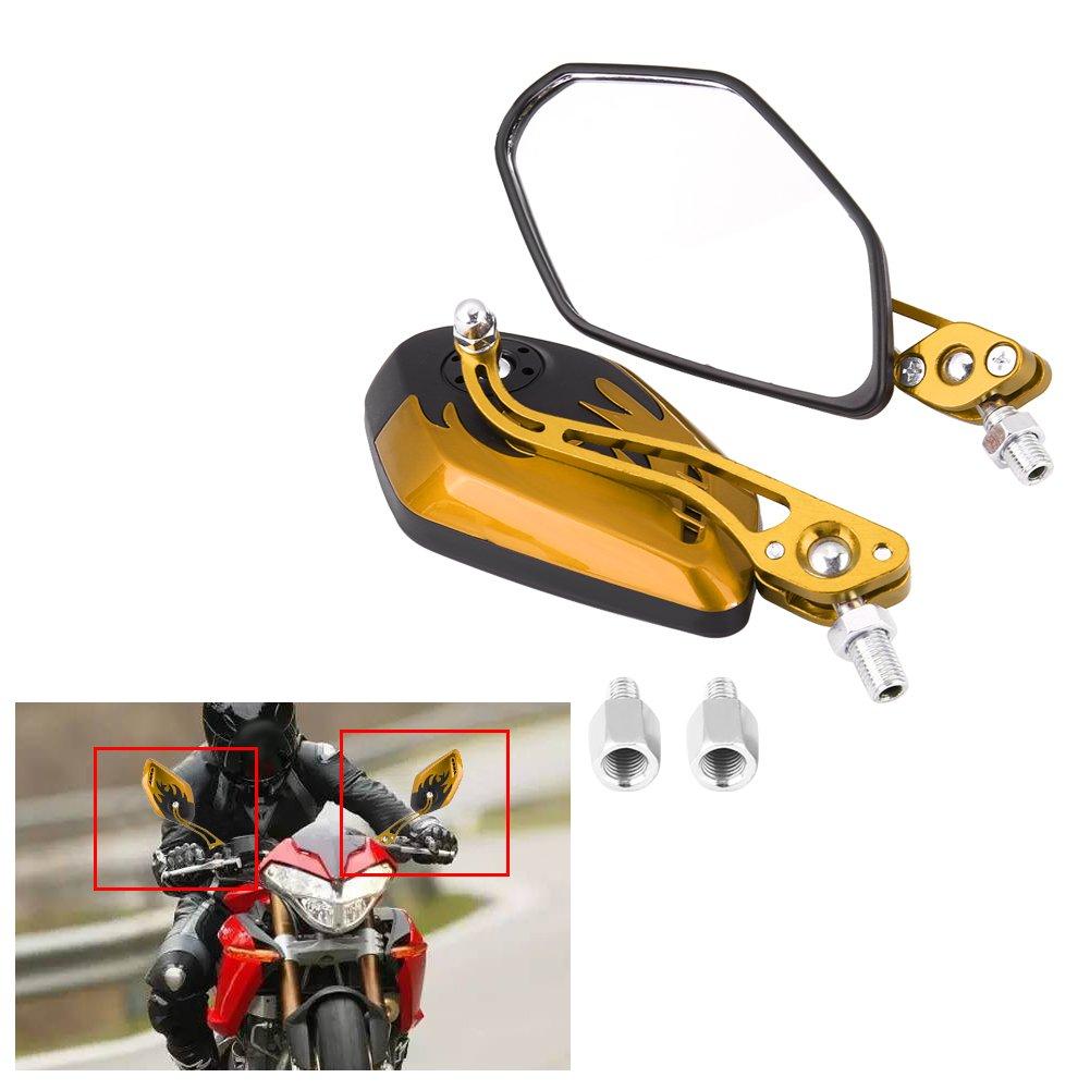 azul 1 par 8 mm 10 mm espejos retrovisores universales de la motocicleta Aluminio Llama patr/ón espejos de vista lateral