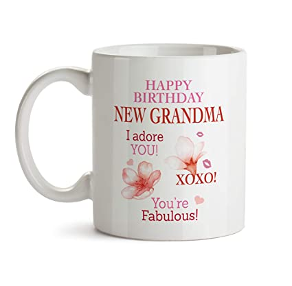 b66adf10988 Amazon.com: New Grandma Birthday Mug B3 Happy Bday Present Ideas Gifts For  Women Funny Cute Coffee Tea Novelty Ceramic Cup Best Good Special Fun Large  Big ...