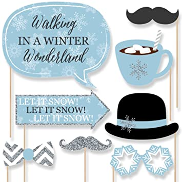 Winter Wonderland Winter Wedding Photo Booth Props Kit 20 Count