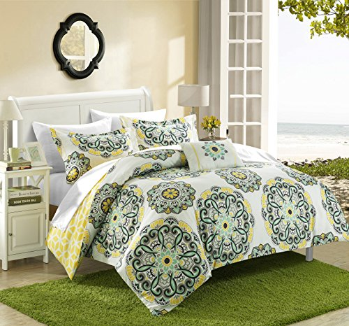 Chic Home Barcelona 8 Piece Reversible Comforter Set Super Soft Microfiber Large Printed Medallion Design with Geometric Patterned Backing Bed in a Bag with Sheet Set and Decorative Pillows Shams, Full/Queen Yellow