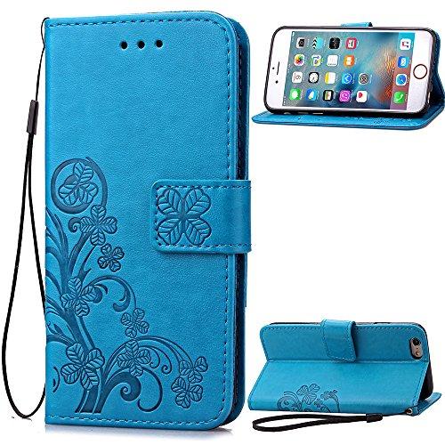 Schutzhülle iPhone 6 Plus / 6S Plus , LH ( Pur Blau Hintergrund ) Case Cover PU Leder Portemonnaie Hülle Wallet Flip Kasten Abdeckung Magnetischer Fall Schale Tasche für Apple iPhone 6 Plus / 6S Plus