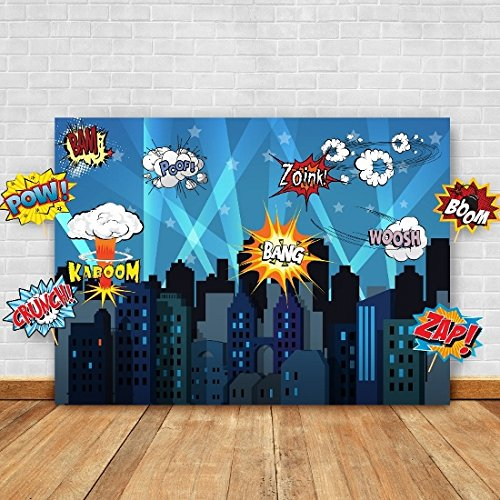 Superhero Cityscape Photography Backdrop and Studio Props DIY Kit. Great as Super Hero City Photo Booth Background – Birthday Party and Event (Party City Backdrop)