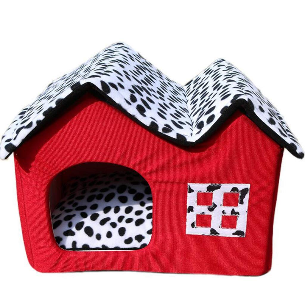 RED 554042CM RED 554042CM Warm Pet Nest 2 in 1 Removable and Washable Winter Soft Cozy Sleeping Bag Mat Pad Cushions Four Seasons Kennel Double Roof Pet Nest Mat Puppy Pad Roof (color   RED, Size   55  40  42CM)