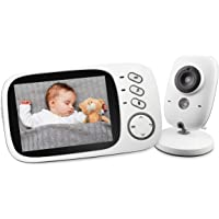3.2 inch Baby Monitor Cam with Night Vision Two-Way Talk Support Voice Activation Temperature Monitoring Built in Lullabies Wireless Video Security Camera