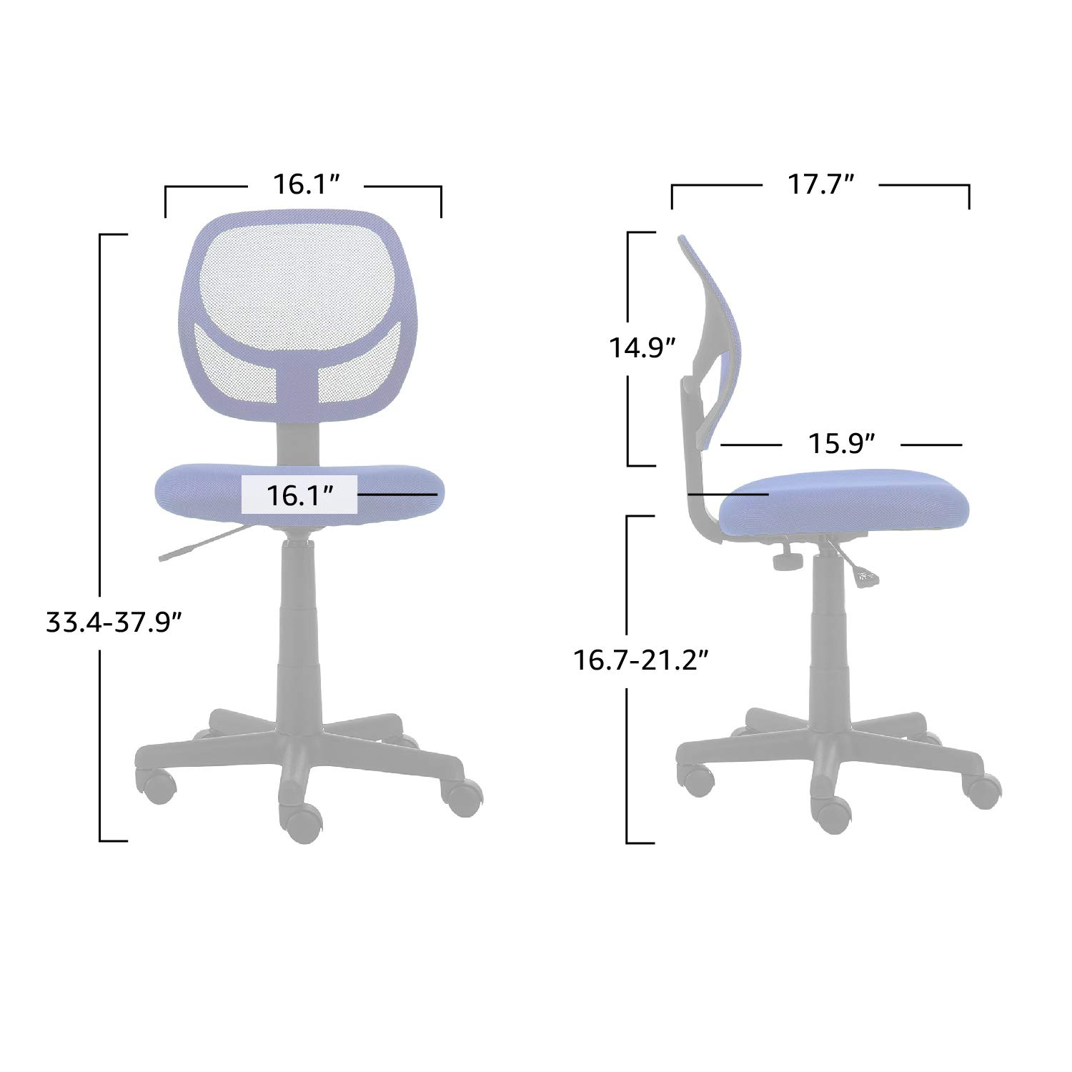 AmazonBasics Low-Back Computer Task Office Desk Chair with Swivel Casters - Blue by AmazonBasics (Image #4)