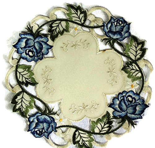 Doily Boutique Place Mat or Doily with a Blue Rose on Ivory Fabric Size 15 inches