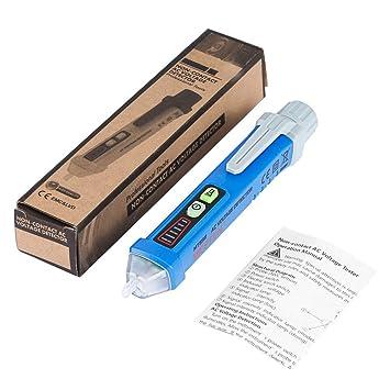 Pluma de inducción del detector de voltaje sin contacto clásico con linterna LED Pluma de voltaje de 12V-1000V con modo de alarma - Azul: Amazon.es: ...