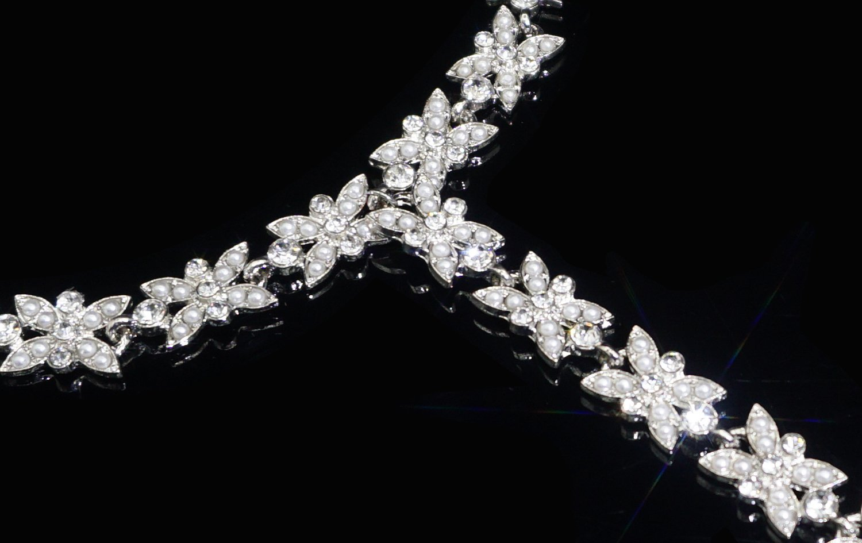 Bienvenu White Faux Pearl Rhinestone Foot Jewelry Beach Anklet Bridal Wedding Bangles Pool Party Accessories Set, Silver Style 3 by Bienvenu (Image #5)