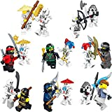Brainy Party Blocks Ninja Movie Minifigures Set of 16pcs with Masters of Spinjitzu Zane Lloyd Nya Kai Jay for kids or party cake or cupcake toppers