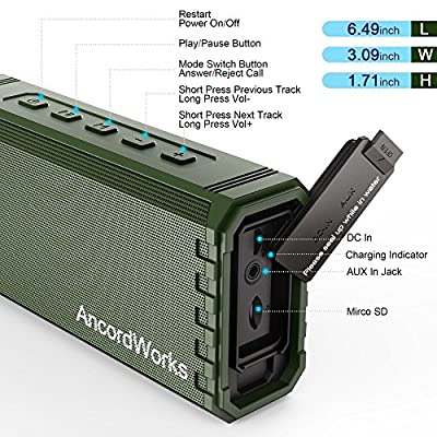 AncordWorks Portable Bluetooth Speaker Hi-Fi Sound, Exclusive Bass Enhance, 20-Watts, IPX7 Water-Resistant, with Floating Shelf, 24-Hour Playtime, Perfect Wireless Speaker for Home, Outdoors, Travel