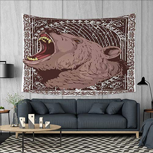 Anniutwo Animal Print Beach Throw BlanketIllustration of The Growling Grizzly Bear Head with Sharp Teeth Print Tapestry Wall Hanging 3D Printing W60 x L40 (inch) Brown and ()