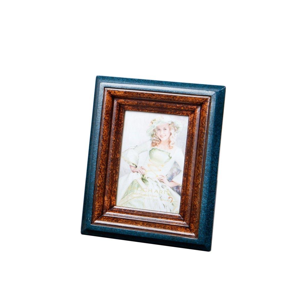 Fulemay 木製フォトフレーム「木の芸術」シリーズ 写真立て KG 2L 6切り グリンー ブルー ブラウン ホワイト B075LJX5KX KG|青と茶 青と茶 KG