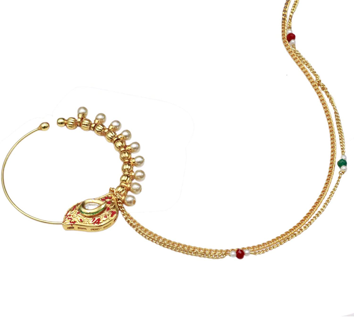 Amazon Com Sanara Indian Traditional Fully Gold Plated Pearl Nath