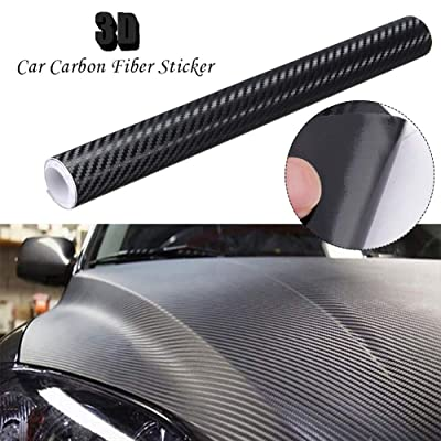 Silence Shopping 3D Black Carbon Fiber Vinyl Wraps Car DIY Wrap Vinyl Roll Film Self-Adhesive Twill Weave Sheet Sticker 127X30cm/50 X11.8 (Black): Automotive