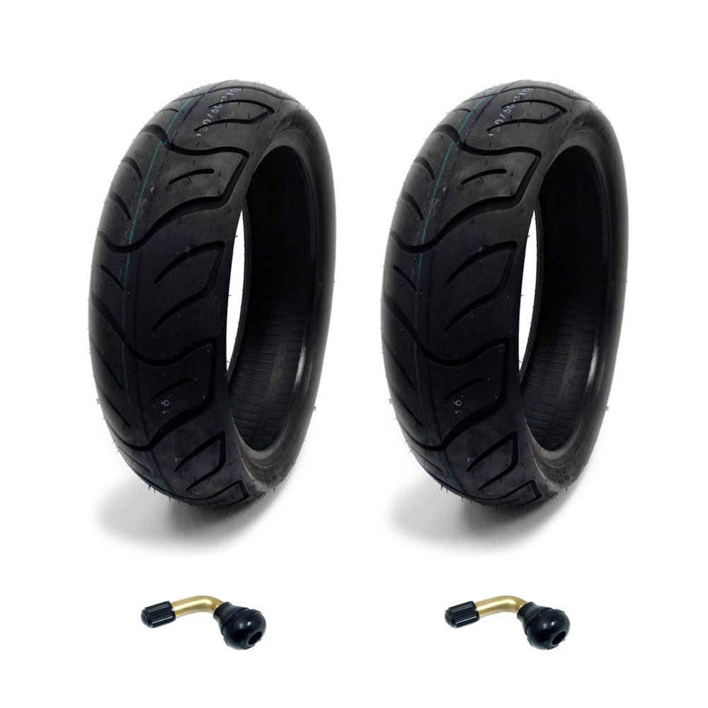 SET OF TWO: Tire 130/60-13 Tubeless Front/Rear Motorcycle Scooter Moped + 2 FREE TR87 Bent Valve Stems MMG