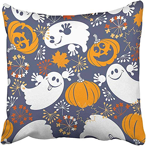 Starocle Blue Abstract with Cute Ghosts and Fun Pumpkins Halloween Orange Airy Autumn Cartoon Costume Dead Draw Throw Pillow Covers 18x18 inch Decorative Cover Pillowcase Cases Case Two Side]()