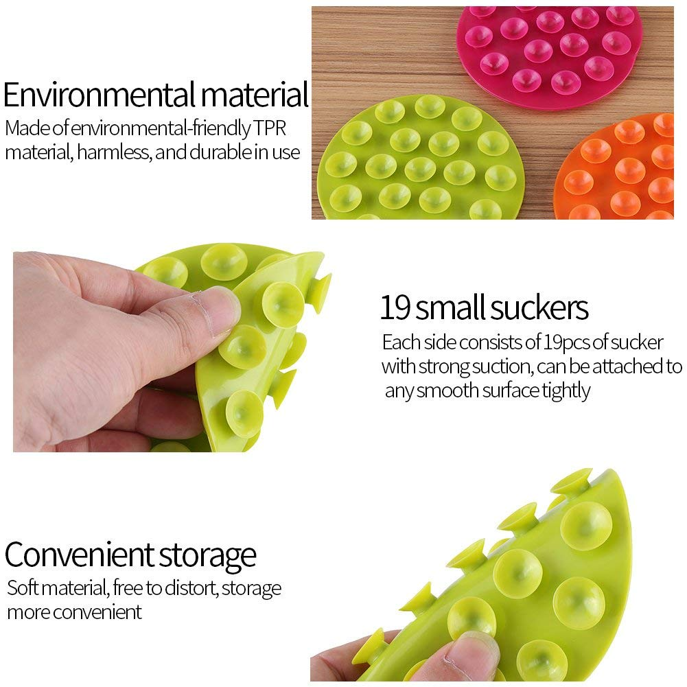 3 St/ück Kreative Kindergeschirr Saugnapf Baby Kids Magic Saugnapf tragbare doppelseitige Saugn/äpfe Anti-Rutsch-Teller Sch/üssel Besteck Platzset
