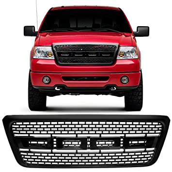 Grille Compatible With 2004-2008 Ford F150 | Raptor Style Black Front Bumper Grill Hood Mesh by IKON MOTORSPORTS | 2005 2006 2007