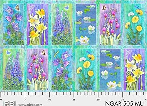 "Nature's Garden Floral Panel 23"" x 44"" Cotton Fabric by P & B Textiles. -  P&B Textiles, NGAR00505"