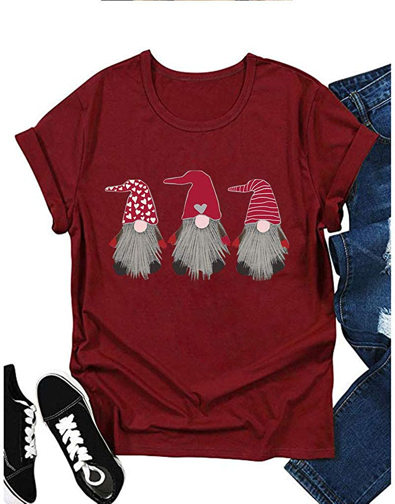 Eoeth T-Shirts for Women Cotton Round Neck Print Short Sleeve Pullover Casual Summer Tops Blouse Shirts Tracksuits Tee