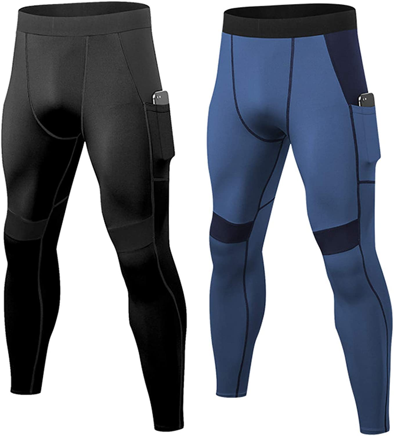 2 Packs Mens Compression Pants with Pockets Athletic Baselayer Bottoms Gym Workout Leggings Running Tights