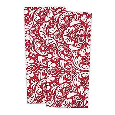 DII 100% Cotton, Everyday Basic Kitchen Dishtowel, Tea Towel, Drying, Damask Printed, 18 x 28  Set of 2- Tango Red