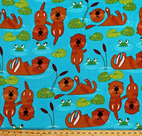 Fleece Cute Otters Holding Hands Frogs Lily Pads Water Lilies Cattails Lake Pond Animals Blue Fleece Fabric Print by The Yard (50736b) ()
