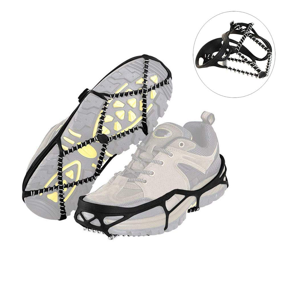 MOGOI Anti Slip Shoes Ice Gripper, Flexible Ice Cleats Winter Walker Traction Device with Stainless Steel Teeth for Winter Walking Hiking Mountaineering