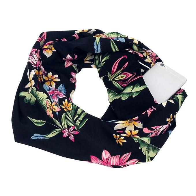 Women Floral Warm Winter Infinity Scarf with Hidden Loop Zipper Pocket Scarves