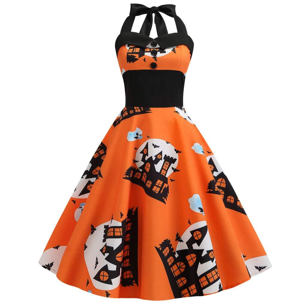 Tefamore 🌹Vestidos Mujer Halloween Ropa de Disfraz Estampado ...