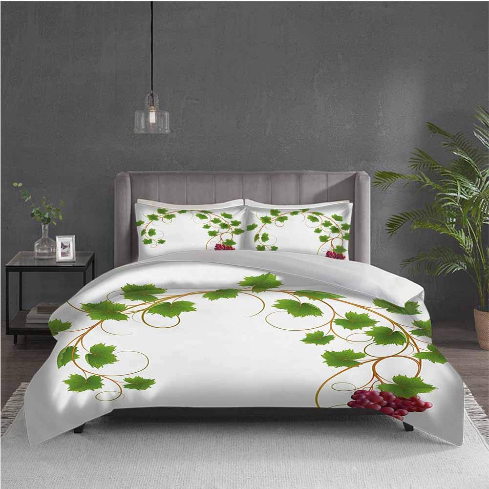 GUUVOR Vineyard 3-Pack (1 Duvet Cover and 2 Pillowcases) Bedding Curved Ivy Branch Deciduous Woody Wines Seeds Clusters Cabernet Theme Print Polyester (King) Green Purple