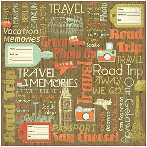 KAREN FOSTER Design Scrapbooking Paper, 25 Sheets, Travel Memories Collage, 12 x 12