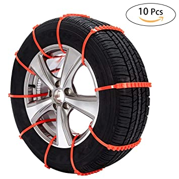 Oziral Cadenas de Nieve 10 pcs, Universal Auto Emergencia Neumáticos Cadenas Antideslizante para la Nieve, para Coche SUV Camiones Nieve Calcetines: ...