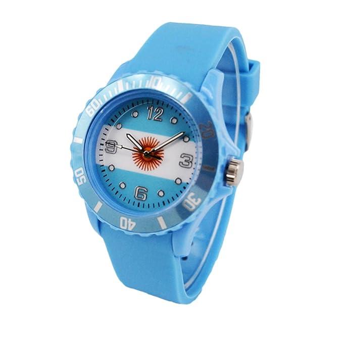 Reloj con la bandera de Argentina con pulsera de Silicona
