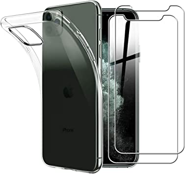 Yoowei para iPhone 11 Pro MAX Funda + [2-Pack] Cristal Templado, Transparente Suave Delgado TPU Silicona Carcasa con 2 Unidades Protector de Pantalla de Vidrio Templado para iPhone 11 Pro MAX: Amazon.es: Electrónica