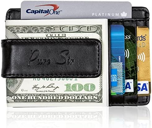 New RFID Genuine Leather Slim Wallet For Men w/ Money Clip-The Minimalist Wallet
