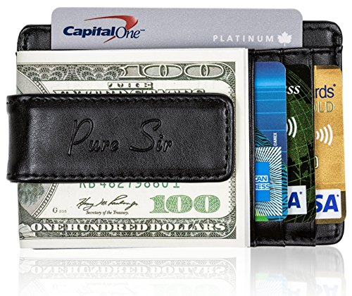 Pure Sir Mens RFID Genuine Leather Slim Wallets w/Money Clip - The Minimalist Wallet