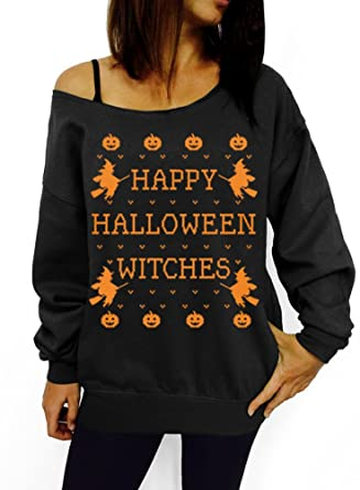 happy halloween witches slouchy sweatshirt small black orange ink