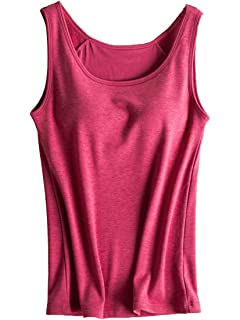 b959273d5bd21 Foxexy Womens Modal Built-in Bra Padded Active Strap Camisole Yoga Tanks  Tops