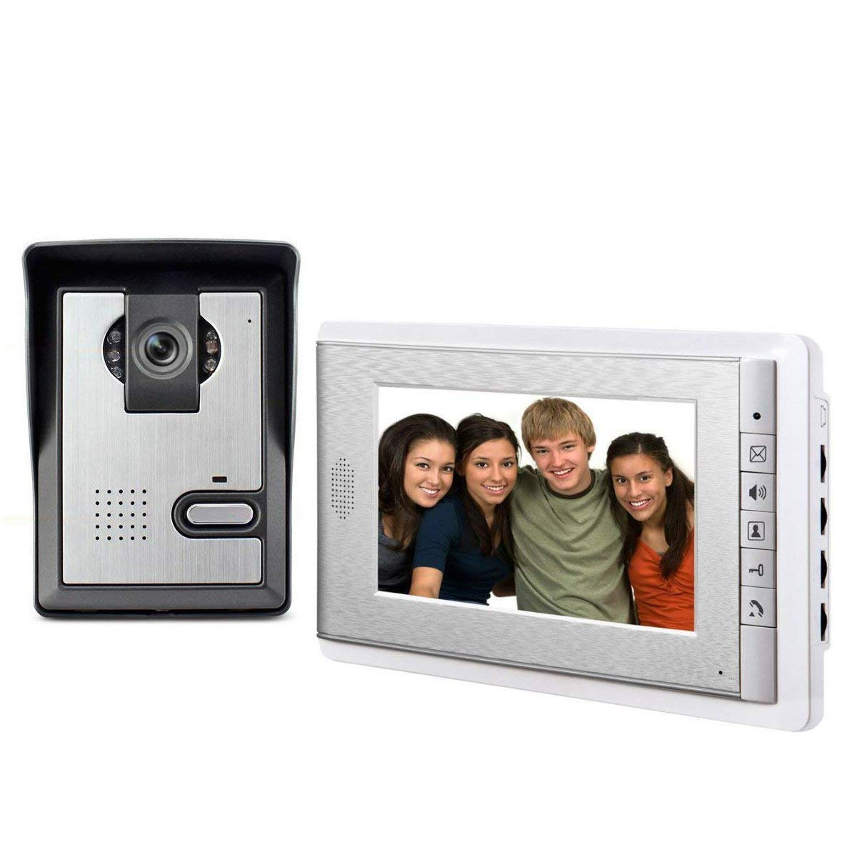 AMOCAM 7'' LCD Monitor Wired Video Intercom Doorbell System Video Door Phone Bell Kits support Monitoring,Unlock,Dual-way Door Intercom for villa Home Security Systems 1-IR Camera 1-Color Screen