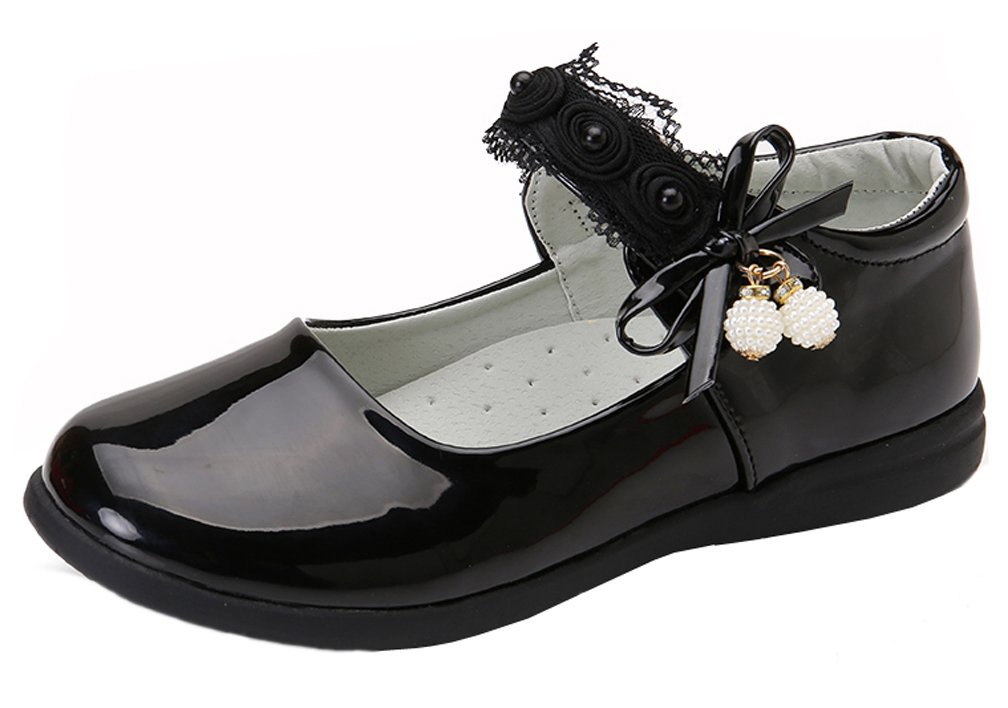iDuoDuo Girls Cute Bowknot Lace Strap Mary Jane Dance Shoes Casual Dress Flats Black 9 M US Toddler