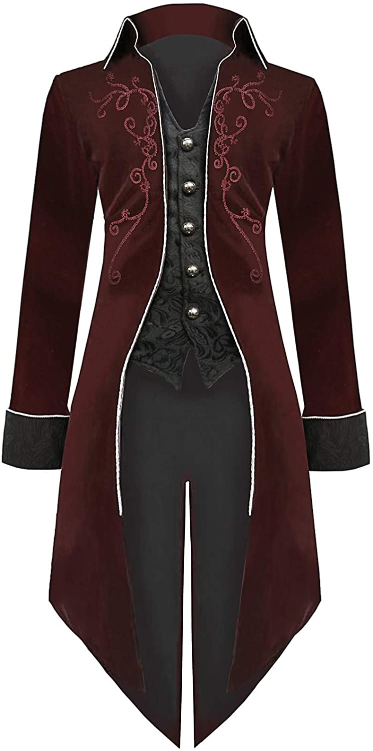 Mens Steampunk Tailcoat Halloween Costumes Velvet Embroidered Victorian Tuxedo Jacket Gothic Vintage Frock Coat